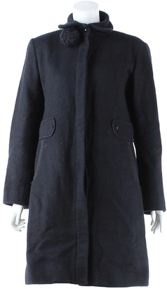 Les Prairies de Paris Black Wool Trench Coat for Women