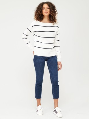 Very Stripped Slash Neck Knitted Jumper - Monochrome Stripe