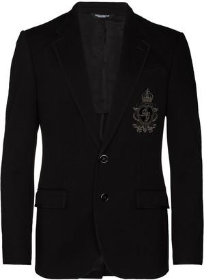 Dolce & Gabbana Logo Patch Jersey Blazer