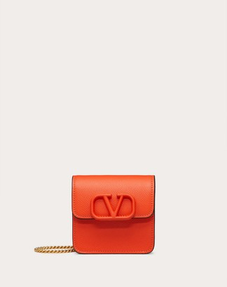 Valentino Compact Vsling Grainy Calfskin Wallet With Chain Strap Women Red 100% Pelle Bovina - Bos Taurus OneSize