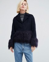 Lost Ink Structured Coat With Faux Fur Trims