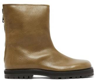 Maison Margiela Square-toe Leather And Shearling Boots - Womens - Khaki
