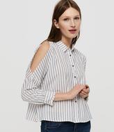 LOFT Lou & Grey Striped Cold Shoulder Shirt