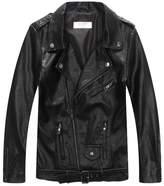 LJYH Boys' Faux Leather Biker Jacket With Zips