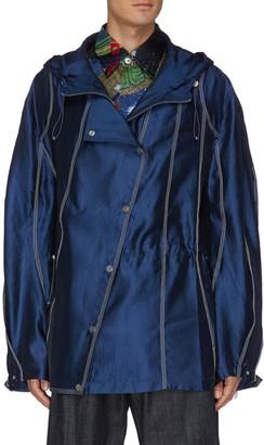 Angel Chen Diagonal snap closure satin hood jacket