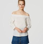 LOFT Petite Striped Off the Shoulder Shirt