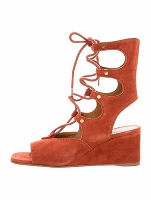 Chloé Suede Lace-Up Wedges w/ Tags gold