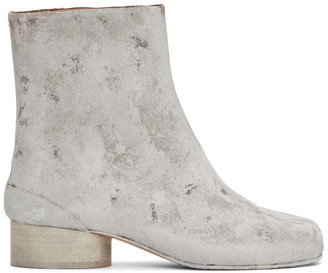 Maison Margiela Brown and White Painted Low Heel Tabi Boots