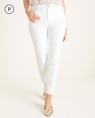 So Slimming Petite No-Stain White Girlfriend Ankle Jeans