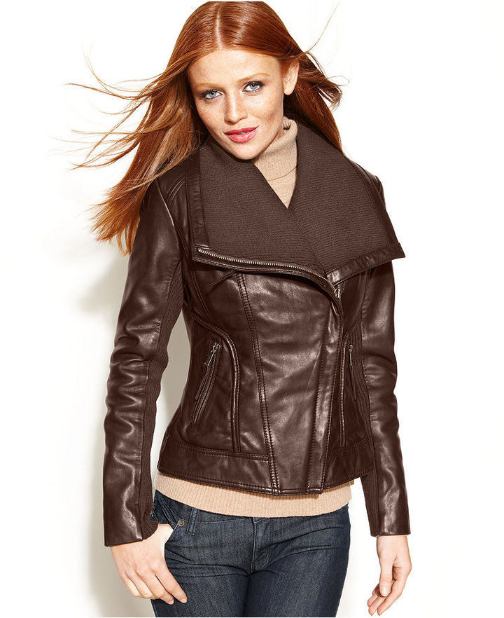MICHAEL Michael Kors Leather Knit-Trim Motorcycle Jacket