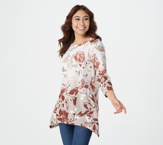 Denim & Co. Petite Printed Heavenly Jersey Trapeze Hem Tunic