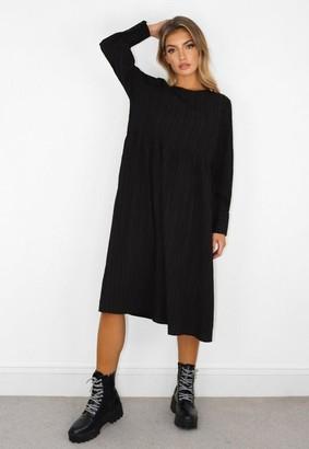 Missguided Black Textured Smock Midi Dress