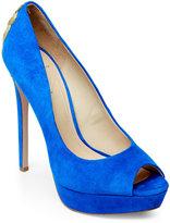 Brian Atwood Cobalt Blue Raja Embellished Platform Peep-Toe Pumps
