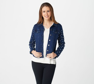 Women With Control Women with Control My Wonder Denim Jean Jacket w/ Pearl Sleeves