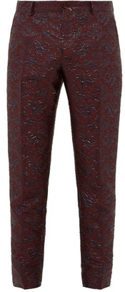 Dolce & Gabbana Swirling-brocade Twill Tuxedo Trousers - Mens - Burgundy