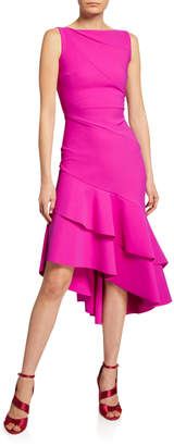 Chiara Boni Kennah Sleeveless Asymmetric Flounce-Hem Dress