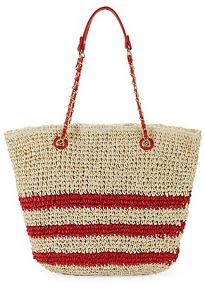 Marabelle Paper Straw Stripe Tote with Chain Handles