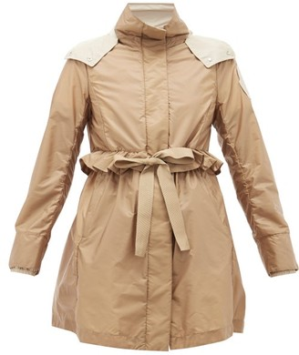 Moncler Coquille Drawstring Ruffle-trimmed Parka - Camel