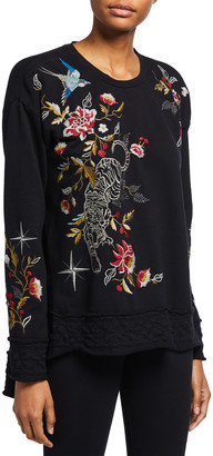 Johnny Was Anzia High-Low Embroidered Sweatshirt