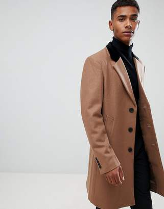 French Connection Premium Wool Rich Overcoat With Velvet Collar-Tan