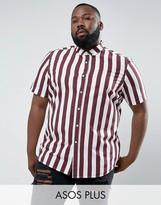 Asos Plus Regular Fit Stripe Shirt In Burgundy