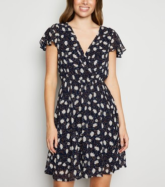 New Look Mela Floral Ruffle Sleeve Wrap Dress