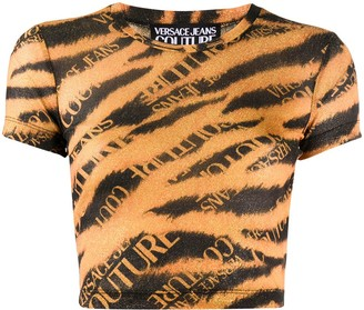 Versace Cropped Tiger Print Top