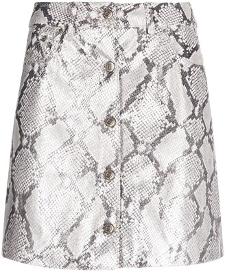 Golden Goose Snakeskin Effect Fitted Mini Skirt