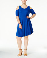 Soprano Trendy Plus Size Knit Cold-Shoulder Dress