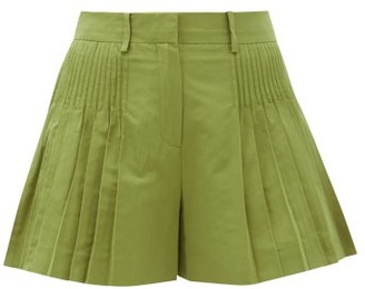 Valentino Pintucked Cotton-blend Faille Shorts - Dark Green