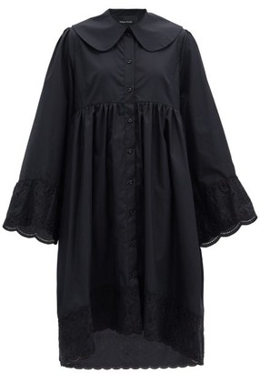 Simone Rocha Floral-embroidered Cotton-poplin Shirt Dress - Black