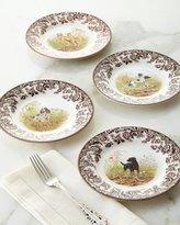 Spode Four Assorted Woodland Hunting Dog Salad Plates