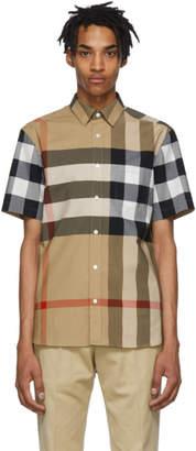 Burberry Beige Check Windsor Short Sleeve Shirt