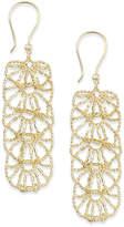 Macy's Diamond-Cut Flower Linear Drop Earrings in 14k Gold