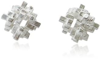 Karolina Bik Jewellery Tetris Square Earrings Silver
