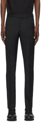 Valentino Black Wool and Mohair Stripe Trousers