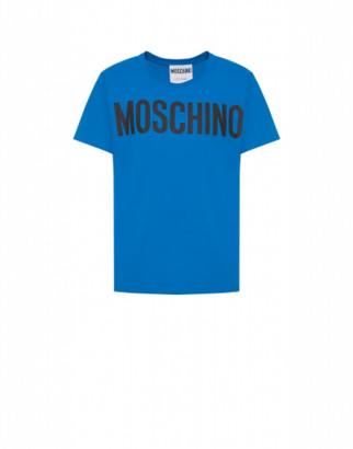 Moschino Jersey T-shirt With Logo Man Blue Size 44 It - (34 Us)