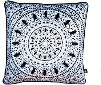 The Curious Department Insect Mandala White Velvet Cushion