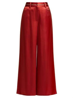 Peter Pilotto High-rise Satin Culotte Trousers - Womens - Red