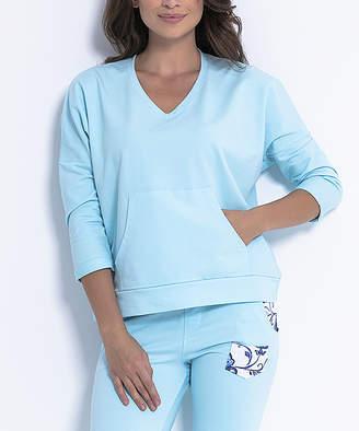 Fobya Women's Sweatshirts and Hoodies SKYBLUE - Sky Blue Kangaroo-Pocket Sweatshirt - Women