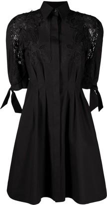 Alberta Ferretti Lace-Trimmed Mini Dress