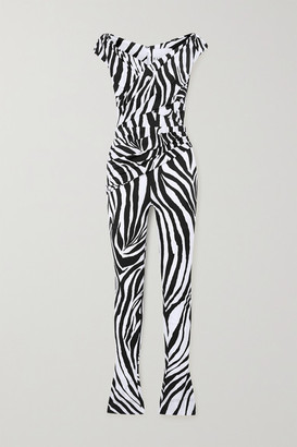 Halpern Off-the-shoulder Zebra-print Satin Jumpsuit - Black