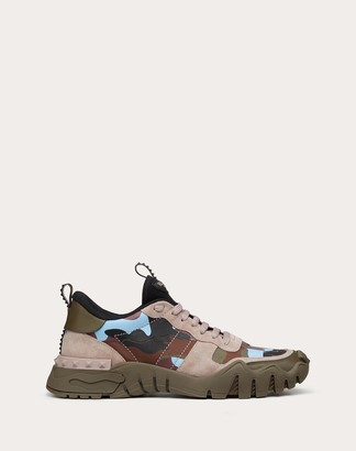 Valentino Garavani Uomo Camouflage Rockrunner Plus Sneaker Man Military Green/poudre Calfskin 100% 39.5