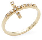 Mizuki 14K Yellow Gold & Diamond Cross Ring