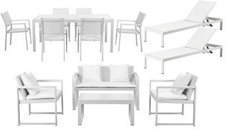 Wade Logan CHSTR 13 Piece Complete Patio Set with Cushions Frame Finish: White, Fabric: White