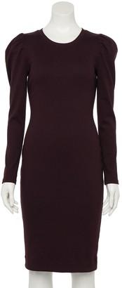 Nine West Women's Puff-Sleeve Rib Knit Midi Dress