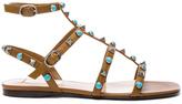Valentino Leather Rockstud Sandals in Brown,Neutrals.