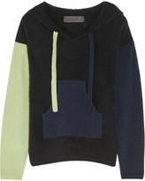 The Elder Statesman Baja Hooded Color-block Cashmere Sweater - Black