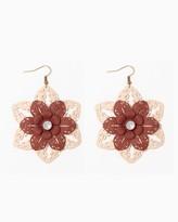 Charming charlie Triple Layer Filigree Flower Earrings