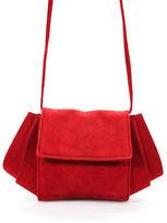 Donna Karan Red Suede Button Closure Medium Sized Clutch Handbag